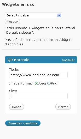 Configurando QR Code widget