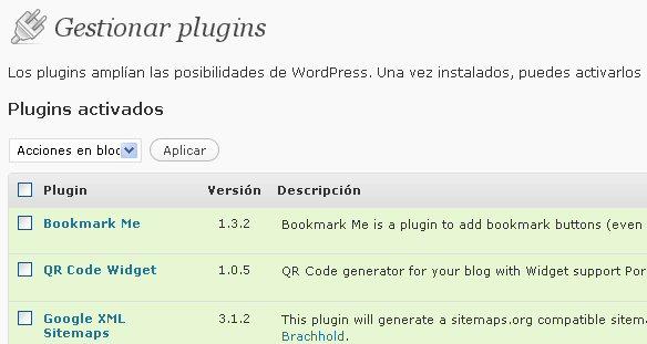 Listado de plugins en WordPress 2.7.1