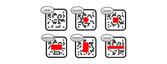 Diferentes posiciones del logo o icono admitidas