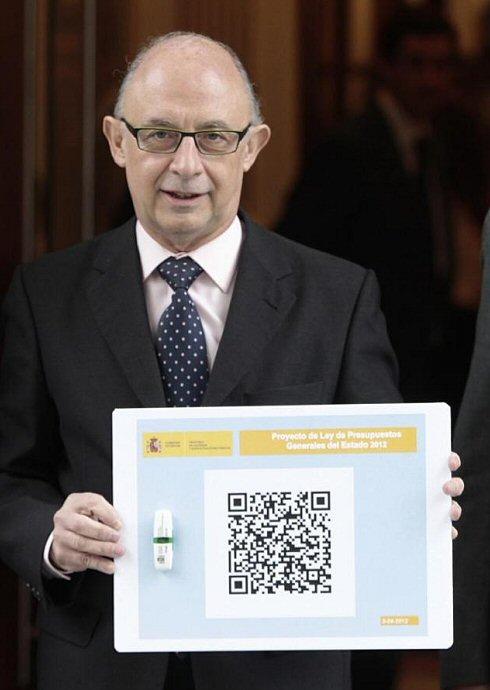 PGE en un código QR presentado por el ministro Montoro