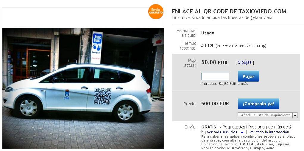 Publicidad con QR en Taxi Oviedo