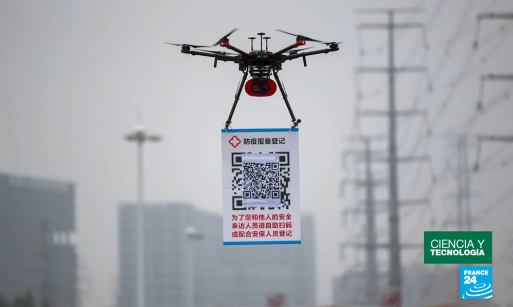 Drones con códigos QR para el control del Coronavirus en China